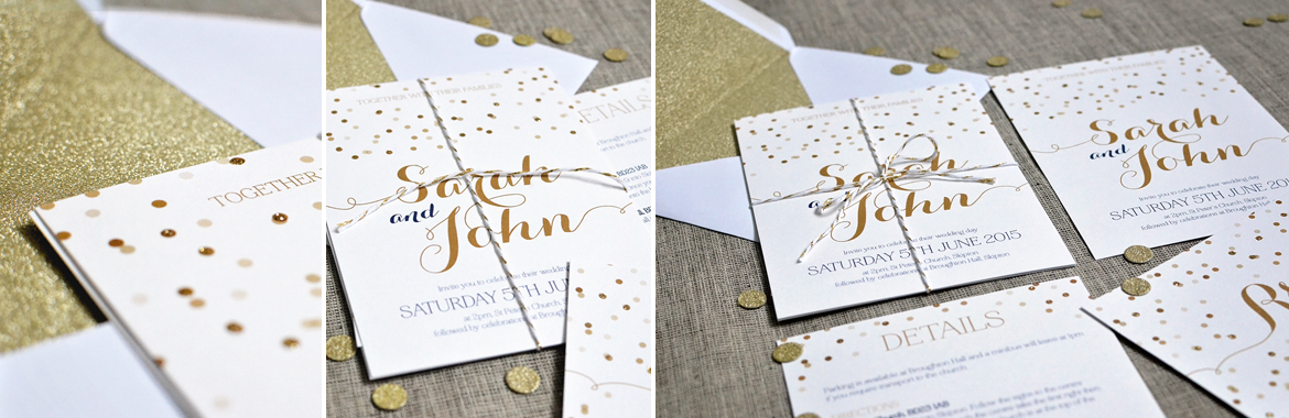Ideas for a gold glitter wedding