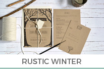 Winter rustic wedding stationery
