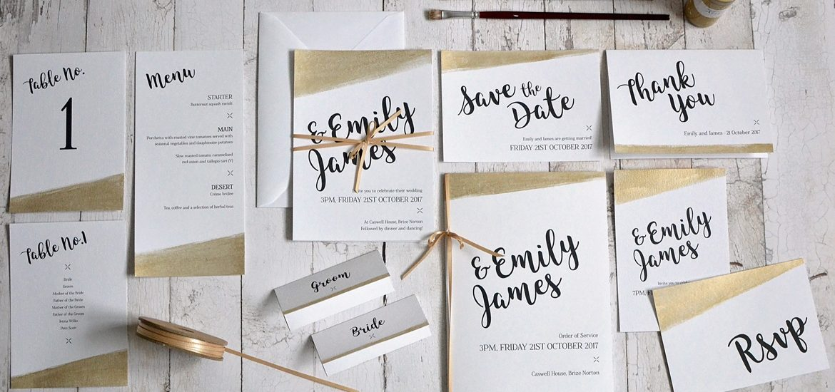 metallic gold wedding invitation and stationery