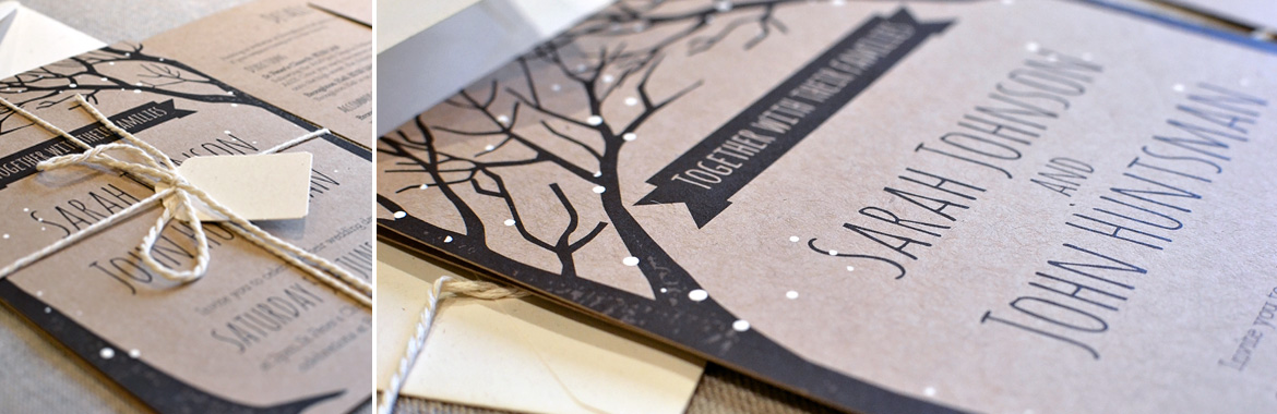 hand finishing rustic wedding invitation