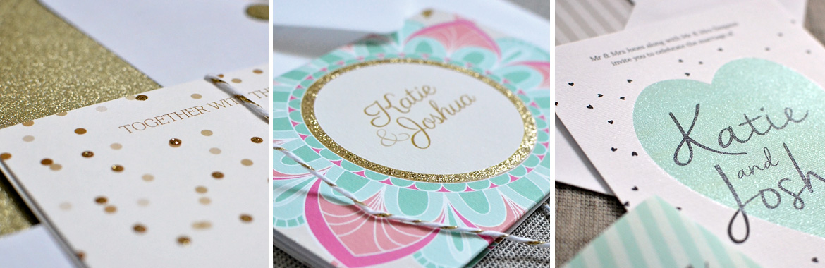 hand finishing glitter wedding invitations