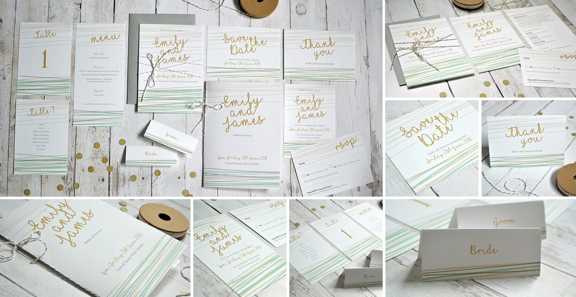 gold foil wedding invitation and stationery