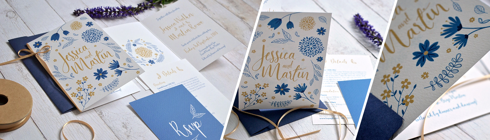 Simple floral wedding invitation and stationery