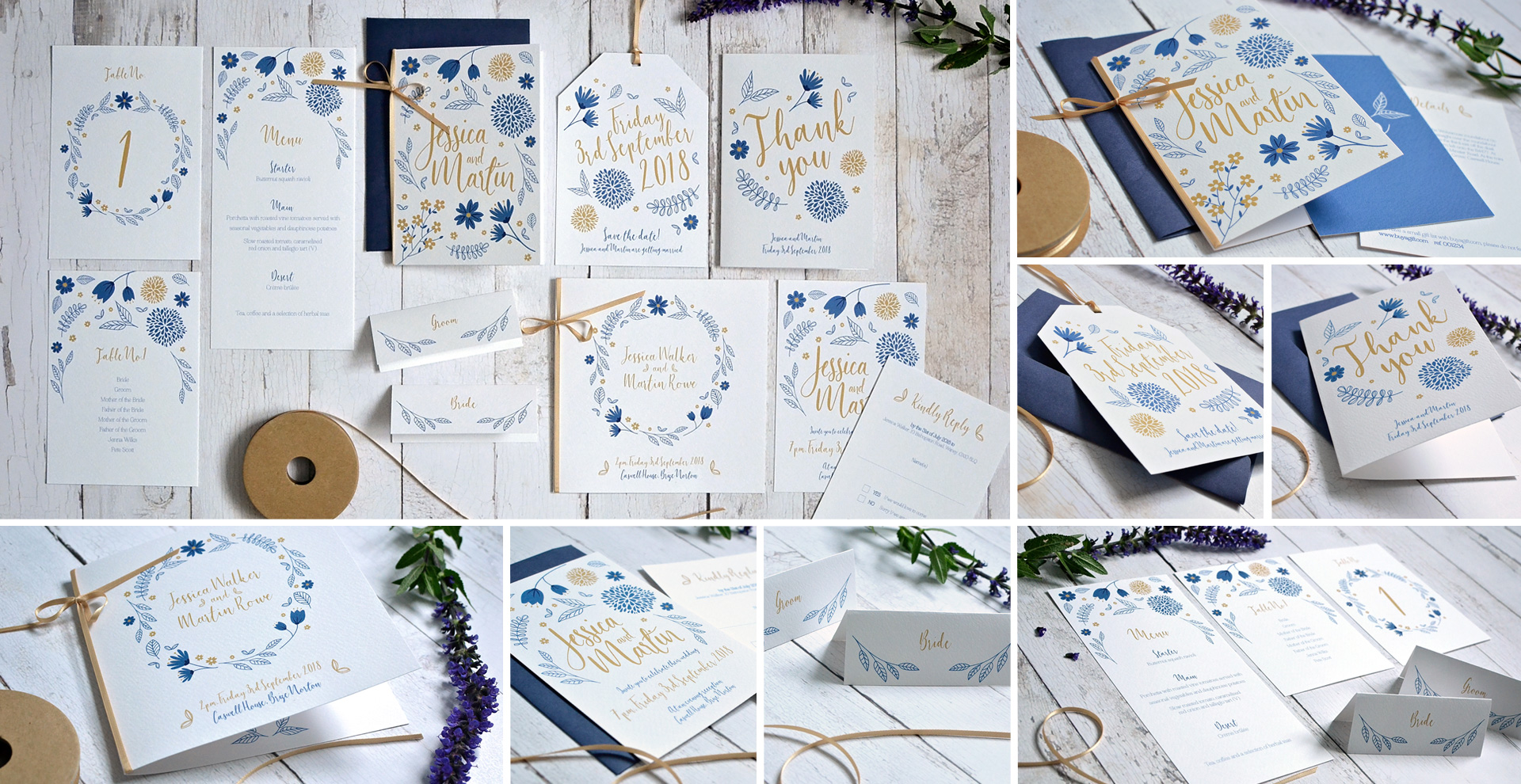 Pretty floral wedding invitation and stationery