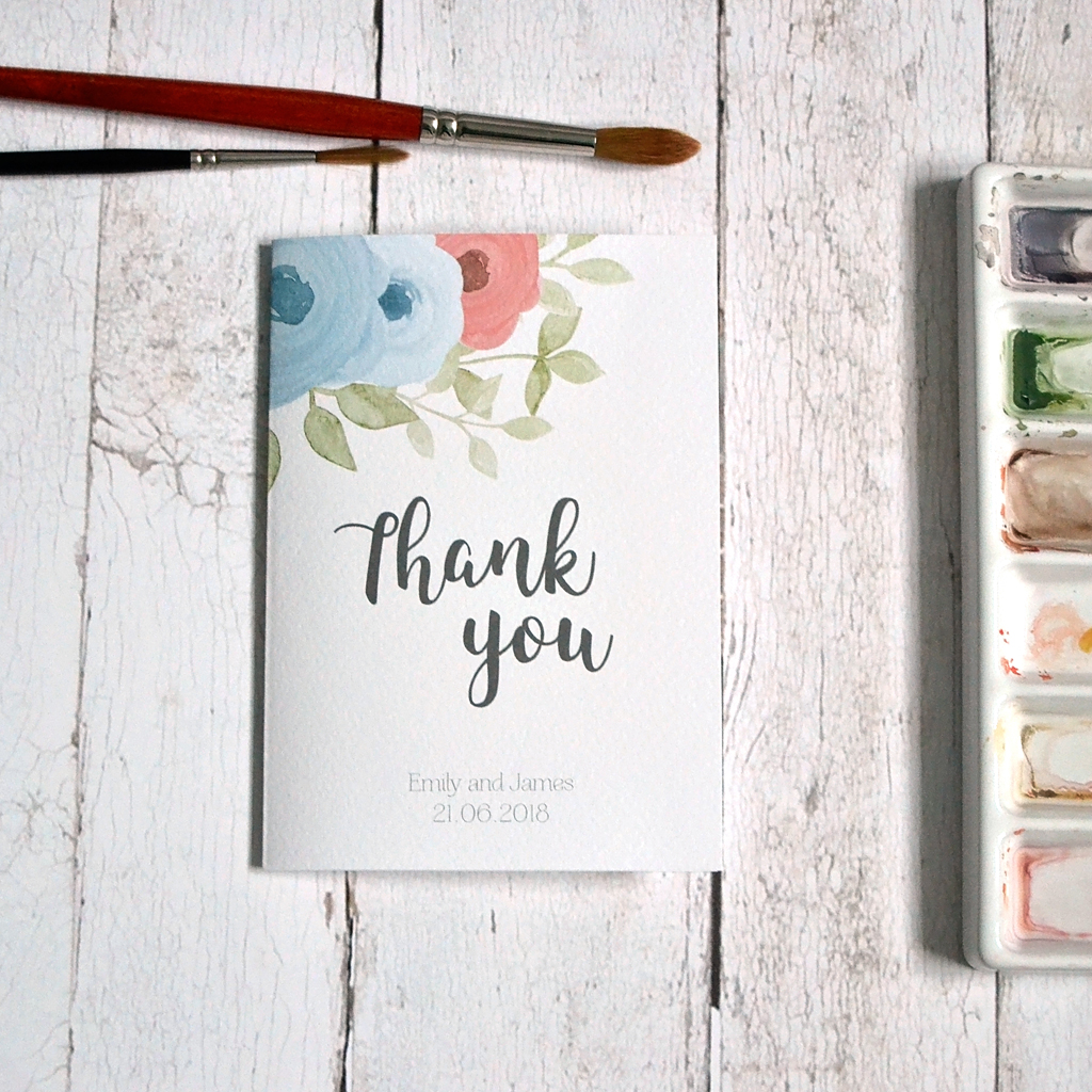 Watercolour Roses thank you card