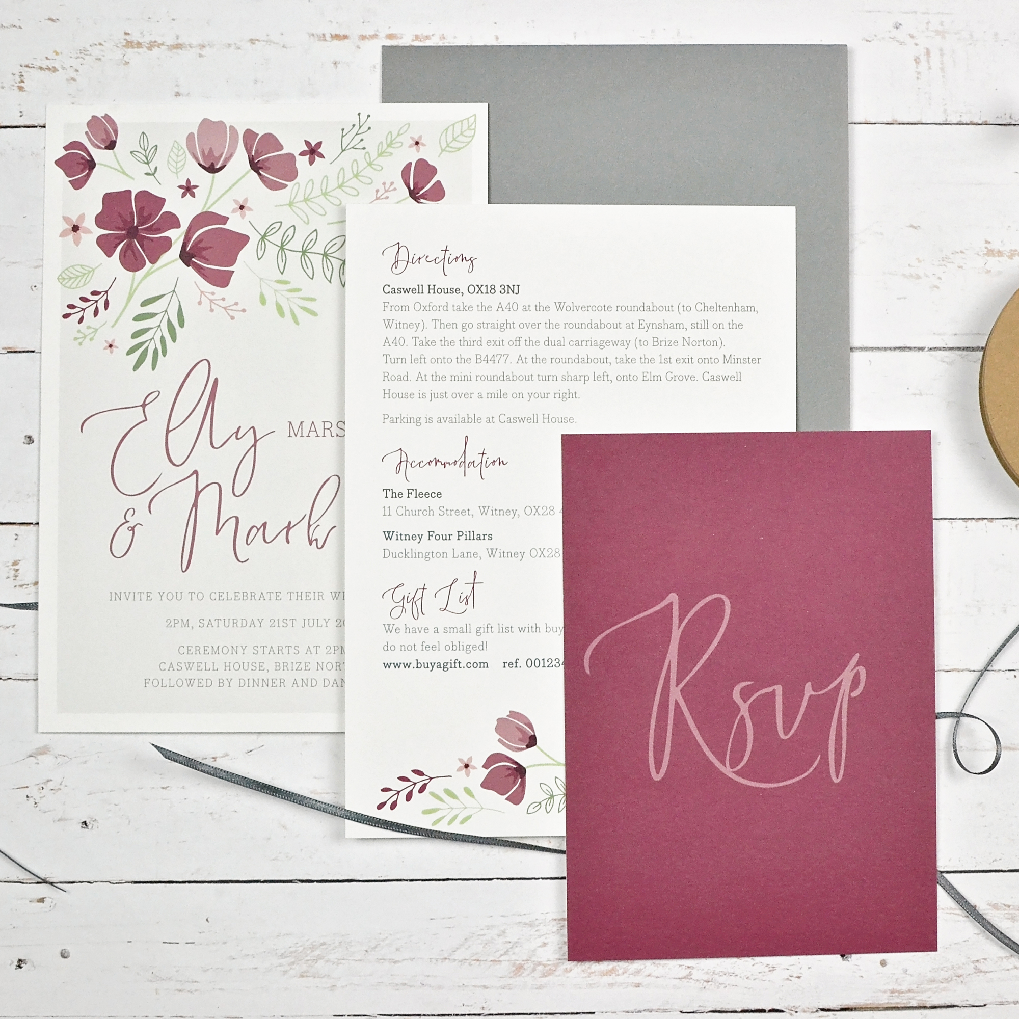 Floral wedding invitation with ribbon