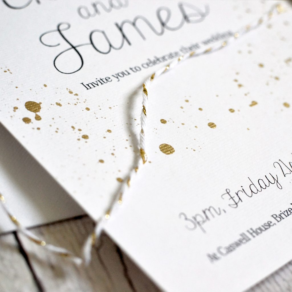 Painted gold wedding invitation