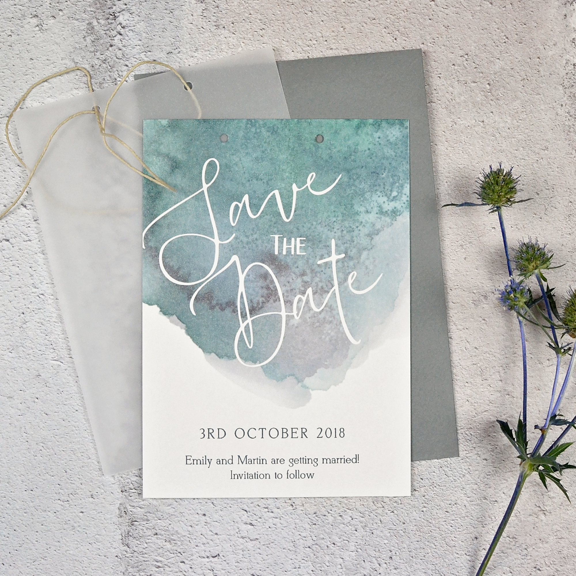 Watercolour Save the Date with Vellum