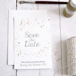 painted gold wedding stationery