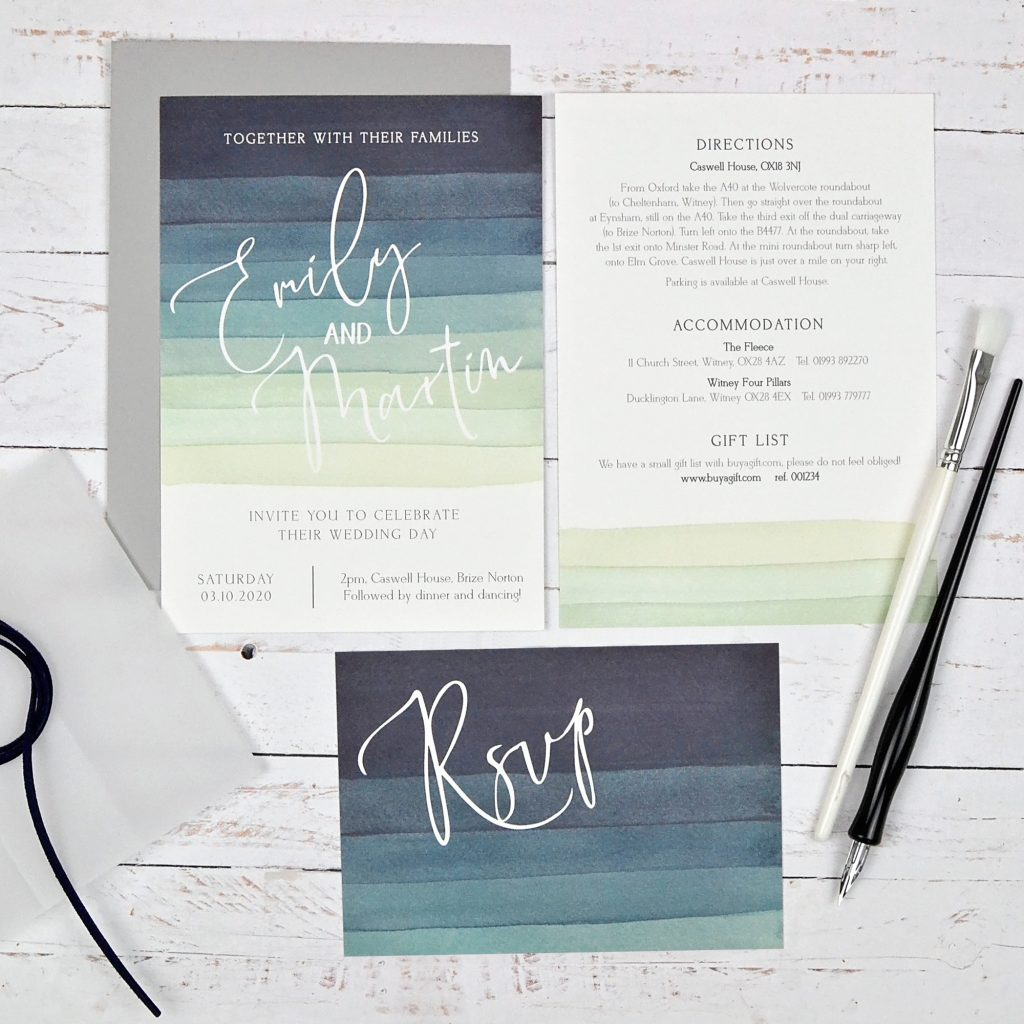 watercolour and vellum wedding invitations