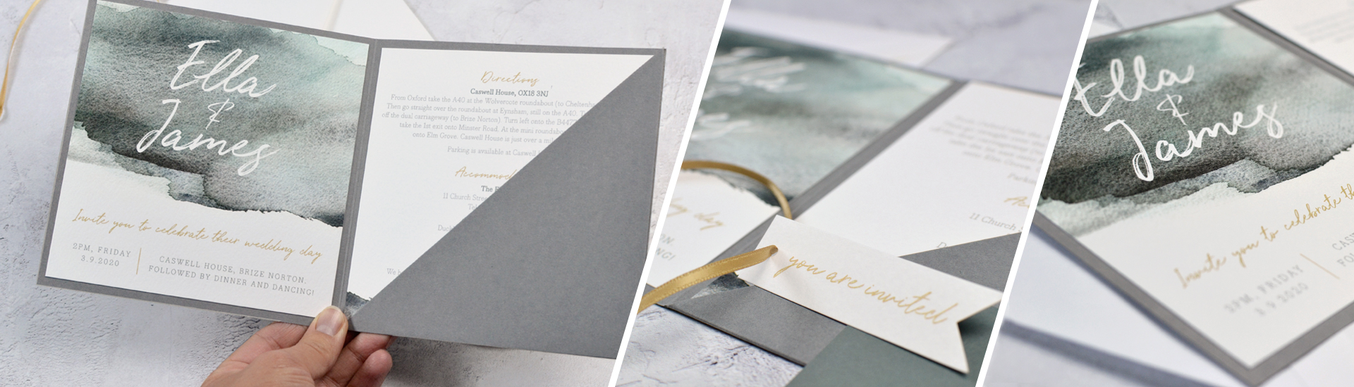 Watercolour Pocket Fold Wedding Invitation