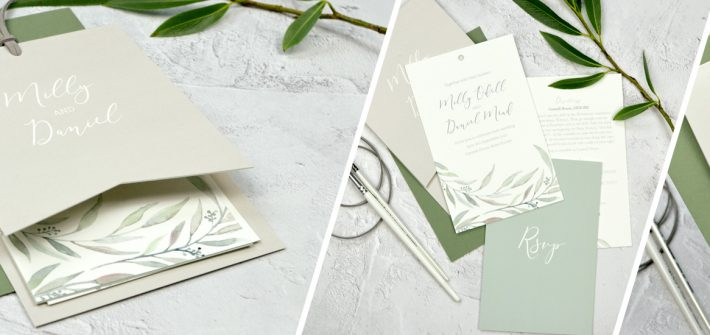 watercolour eucalyptus wedding stationery