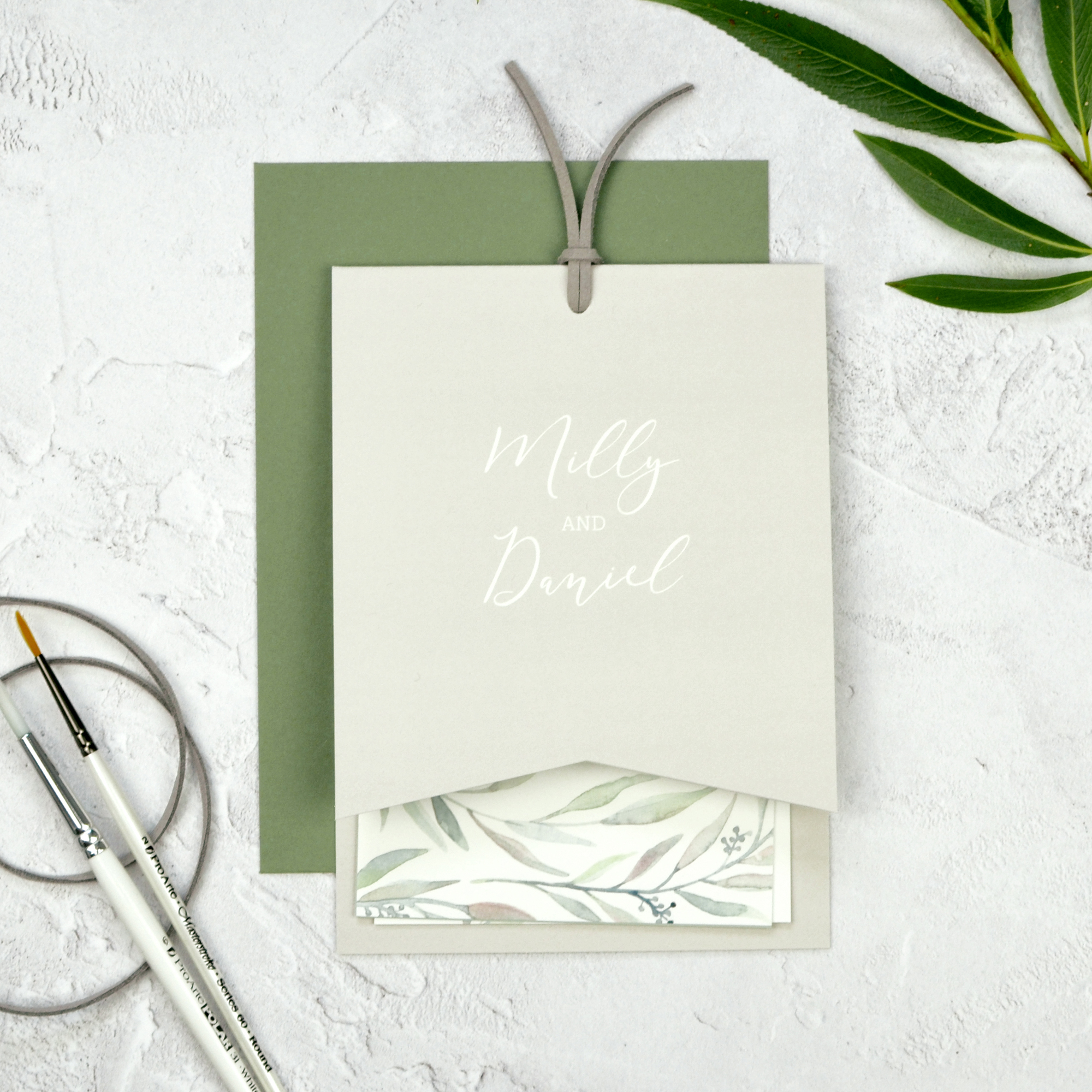 eucalyptus watercolour wedding stationery