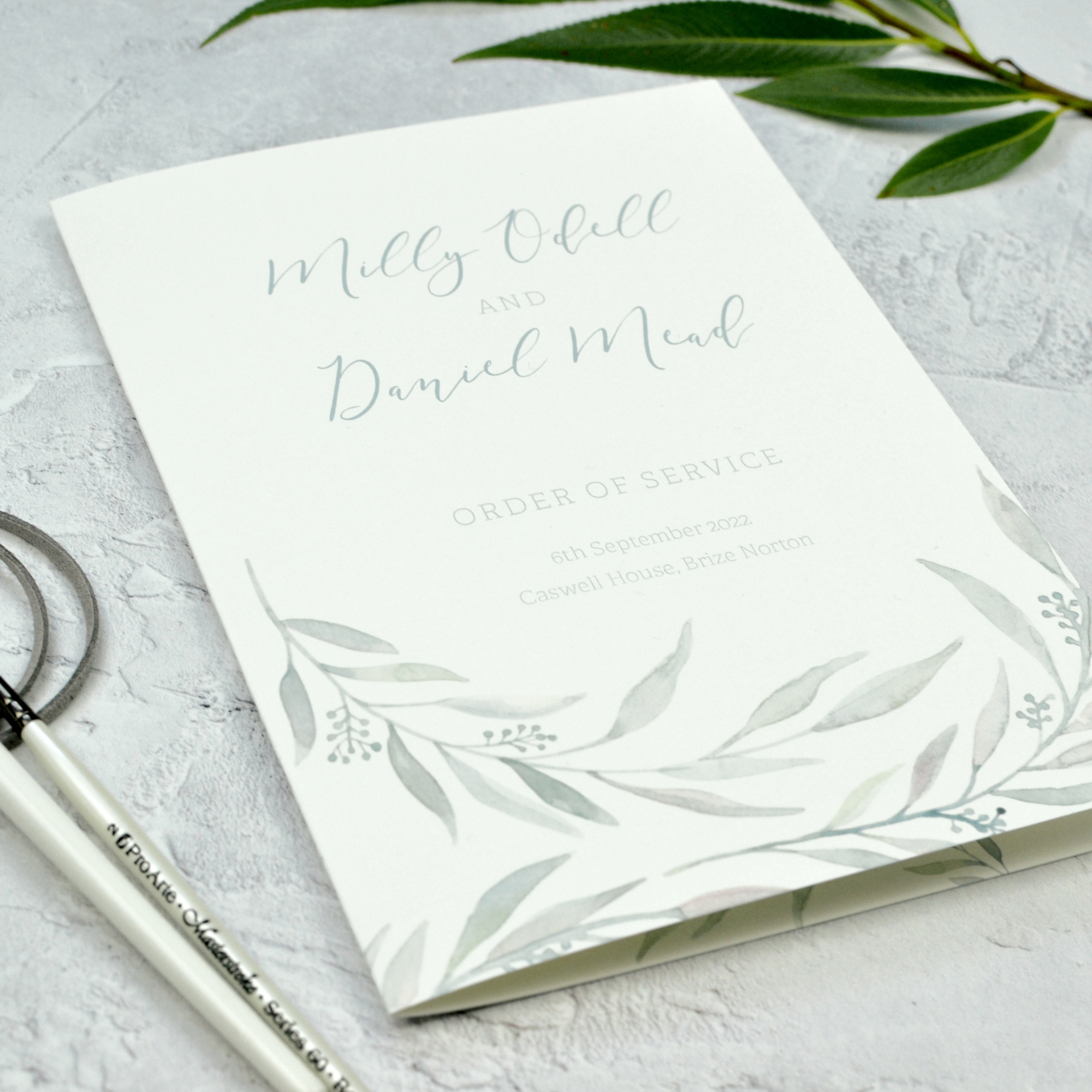 Modern eucalyptus wedding order of service