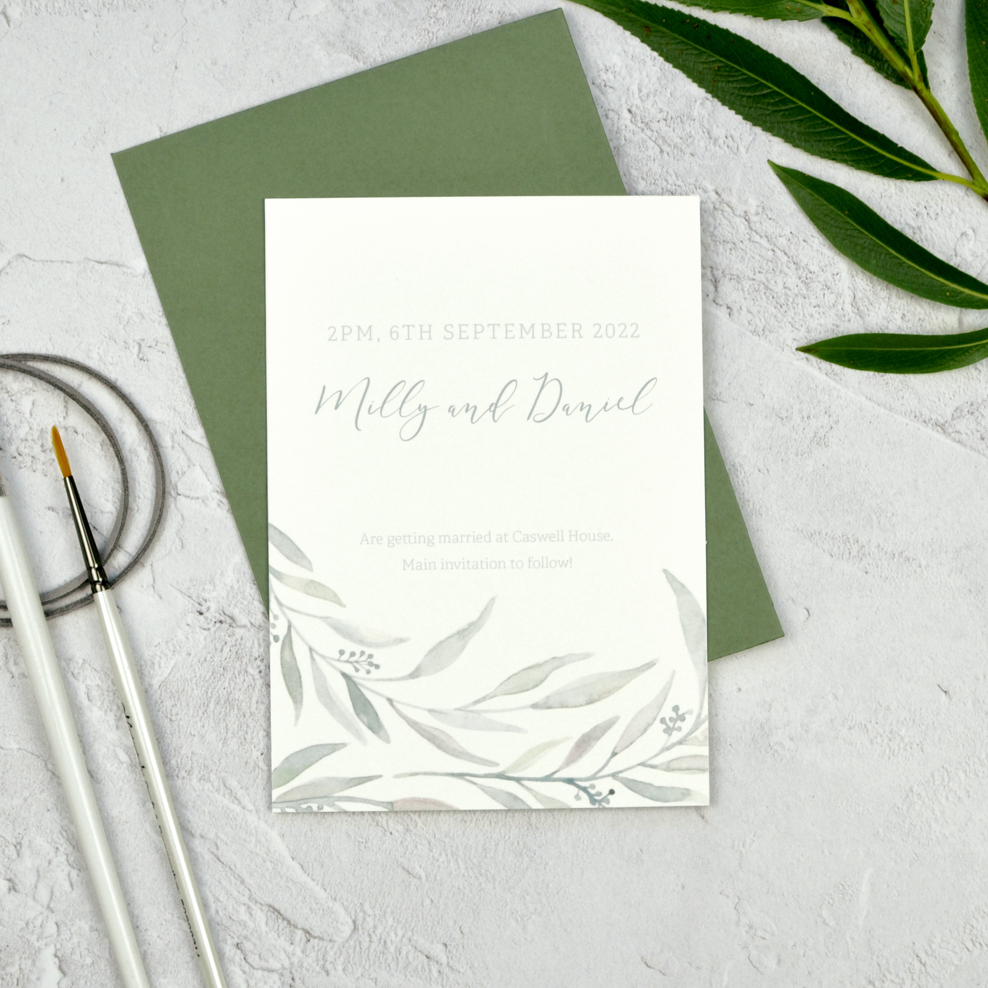 Modern eucalyptus wedding save the date